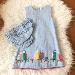 Mini Boden Seersucker Birds Dress + Bloomers
